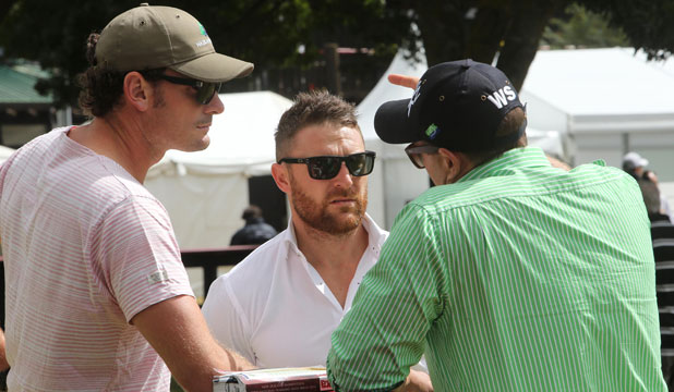 Black Caps Kyle Mills and Brendon McCullum at the Karaka yearling sales.
