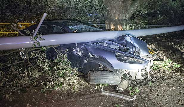 Early morning Auckland smash destroys $320,000 Aston Martin.