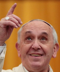 MODERN TIMES: Pope Francis praises the int