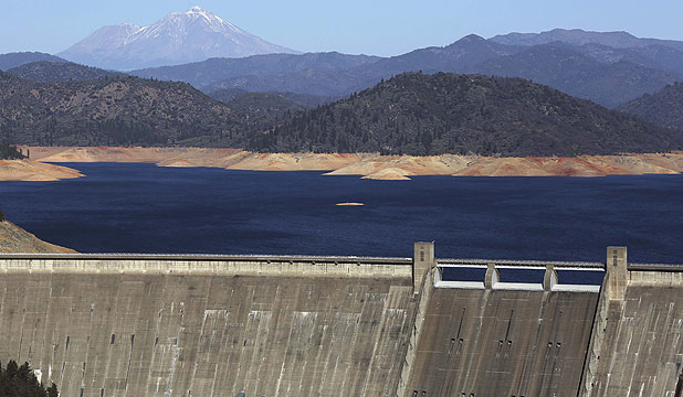 Shasta Lake, which is 30 metres below its normal levels, is shown behind Shasta Dam with Mount Shasta in background in California.