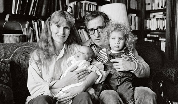 Mia Farrow, Woody Allen, Ronan and Dylan in 1988
