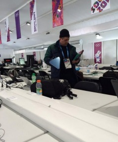 SOCHI SURVEILLANCE: Or not. This man turned out to be making sure media weren't setting up wifi networks that could interfere with official ones.