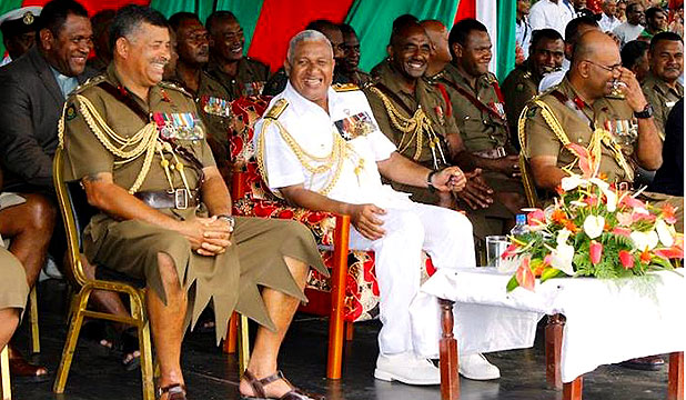Colonel Mosese Tikotoga, Commodore Frank Bainimarama and Brigadier-General Mohammed
