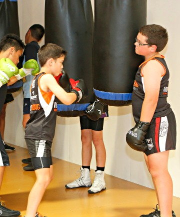 Mitch Nicholls, right, training with the Victory Boxing programme