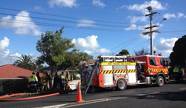BLAZE: The Fire Service received multiple calls to a house fire in Hutchinson Ave, in the West Auckland suburb of New Lynn.