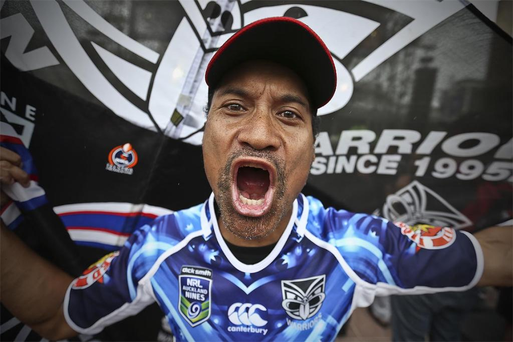Warriors fan Junior Konakava during the launch of the Rugby League Nines held at Aotea Square, Auckland.