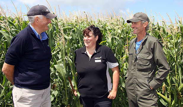 Waimate West Demonstration Farm supervisor Joe Clough, DairyNZ consulting officer Michelle Taylor and Hawera dairy farmer Martin Powell discuss the cropping trial being conducted on four Taranaki farms.