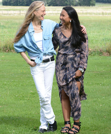 Suzy Amis Cameron, left, and designer Jomnarn Dul