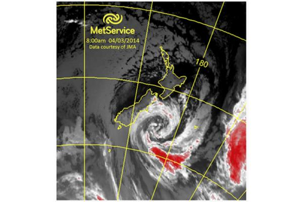 A MetService satellite image of the storm as it moves up the South Island's east coast.