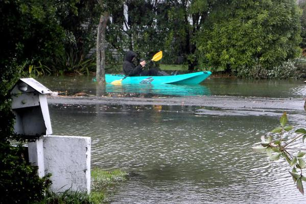 Kayak in Linwood flood