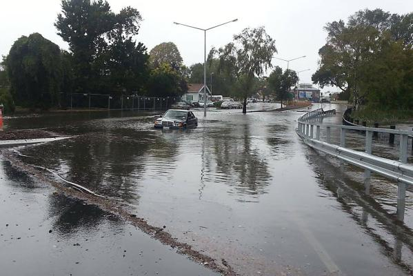 Fitzgerald ave flooding car submerged