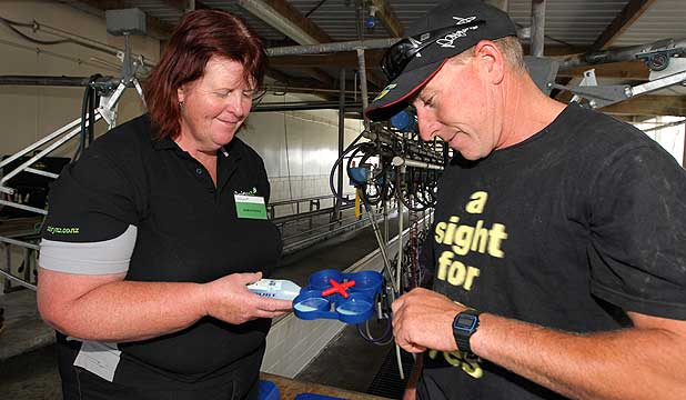 DairyNZ's Andrea Henry and Hawera dairy farmer Kevin Hall inspect a rapid mastitis test kit at a Milksmart seminar in Stratford.