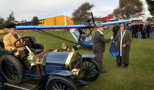 Eric Robins and his 1906 Darracq took part in yesterday's ''air mail'' re-enactment, along with New Zealand Post representative Alan Ferguson, and pilot Jack Mehlhopt