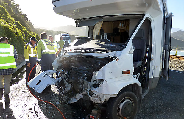 Campervan crash near Kaikoura