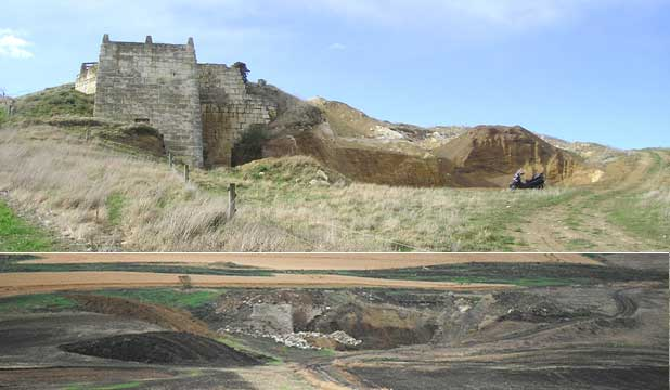 The Teaneraki lime kilns in North Otago before (top) and after work was started on a dairy farm conversion.
