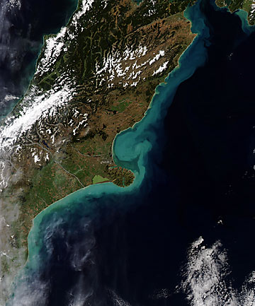 Nasa's Aqua satellite image of Canterbury