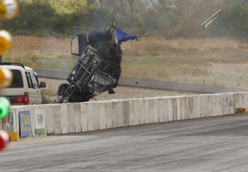 A driver is virtually unharmed after he crashed his car, flipping five times, at the new Masterton Motorplex.