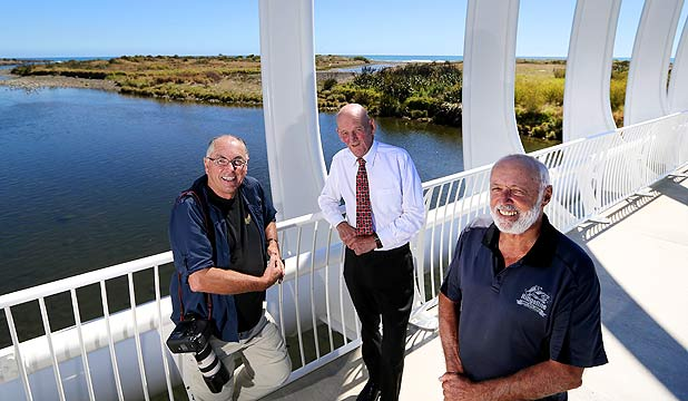 Photographer Rob Tucker, former New Plymouth mayor and Taranaki Regional Council deputy chairman Daisy Lean and journalist Jim Tucker on New Plymouth's Rewa Rewa Bridge over the Waiwhakaiho River. Lean features in Jim Tucker's research into the state of Taranaki's rivers and Rob Tucker took many of the photographs that illustrate the story.