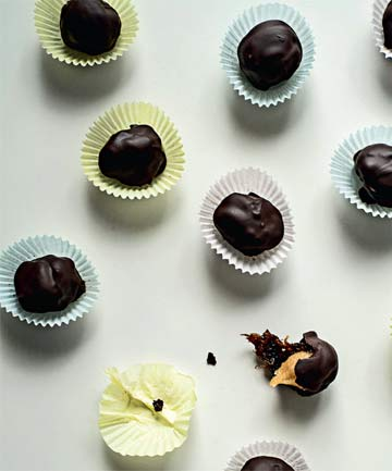 Chocolate marzipan prunes