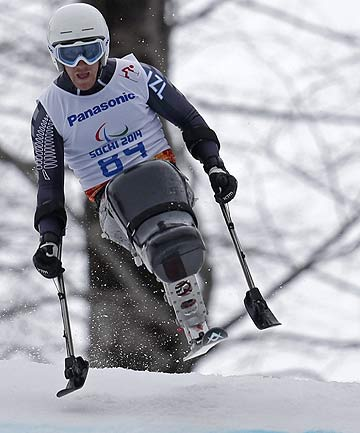 Corey Peters skis at Sochi Paralympics
