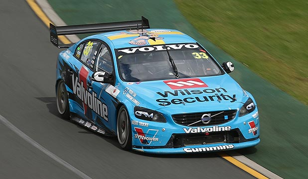 Scott McLaughlin drives his Volvo to victory in race four of the V8 Supercars Challenge, a support race for the Australian Formula One Grand Prix at Albert Park in Melbourne.