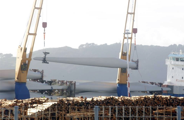 Wind turbines unloaded at Wellington waterfront