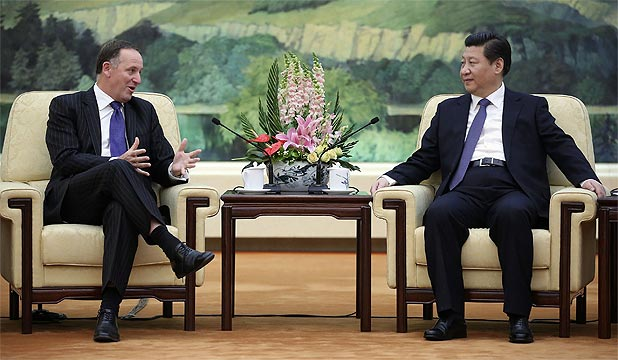 KEY AND XI: John Key meets with Chinese President Xi Jinping at the Great Hall of the People.