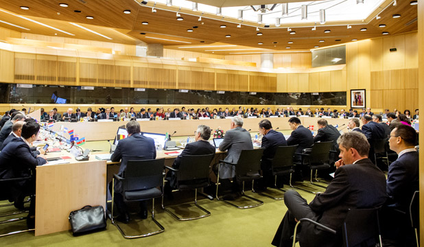 The chief negotiators (sherpa's) of the participating countries are in talks at the Ministry of Foreign Affairs to prepare their Heads of Delegation for the Nuclear Security Summit (NSS) on March 21, 2014 in The Hague, Netherlands.