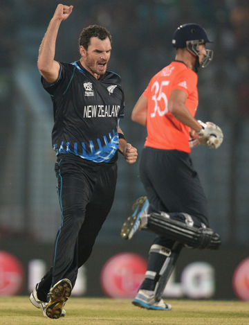 HAPPY MAN: Kyle Mills celebrates dismissing England's Alex Hales.