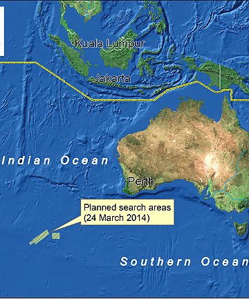 Malaysian Airlines Flight MH370 search area