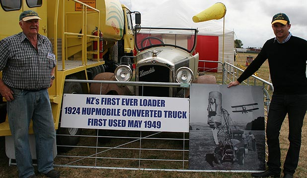 Hallet Griffin and Alex Kaandorp with the Hupmobile which attracted huge interest at the Central Districts Field Days.
