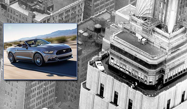 A Ford Mustang sits high on the Empire State Building in 1965. Inset, the 2015 Mustang which Ford is planning to also assemble high on the iconic building.