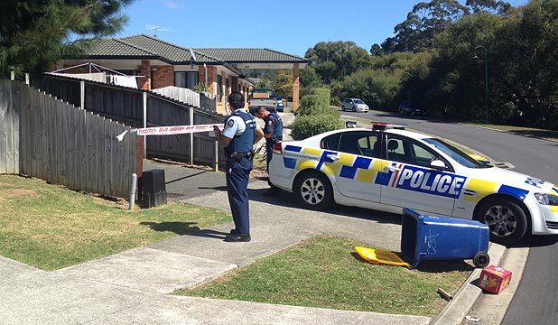 TRAGEDY: The driveway in Massey, West Auckland, where the child was run over.