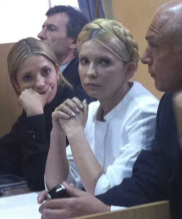 FOUND GUILTY: Former Ukrainian Prime Minister Yulia Tymoshenko, centre, listens during a court session in Kiev.