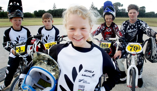 TRACK APPEAL: New Plymouth BMX riders Jordan Riddick, 11, left, Daniel Wisnewski, also 11, Sophie Riddick, 9, and brothers Jack, 7, and Deon Corbett, 12, at Hickford Park in Bell Block.