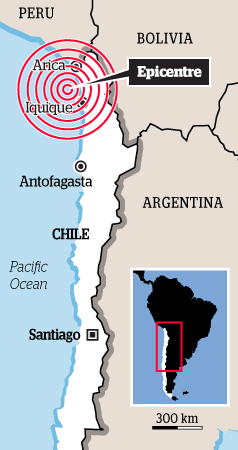Chile quake map