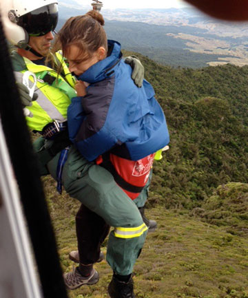 Gail Mourral gets winched off the summit of Mt Pirongia