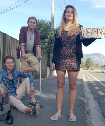 European backpackers from left to right Claire Minguet, Joris Van Der Schalie and Romane Lelay