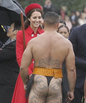 WELCOME LAID BARE: The Duchess of Cambridge speaks with a bare-bottomed Maori warrior.