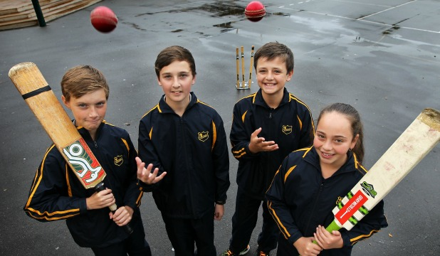 Our Lady of Fatima pupils Shannon Germon, 11, Liam Buckley, 12, Caleb Parker, 12 and Jamie Elley