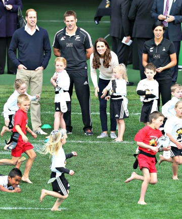 Prince William, All Blacks captain Richie McCaw and Catherine cheer on their Rippa Rugby teams