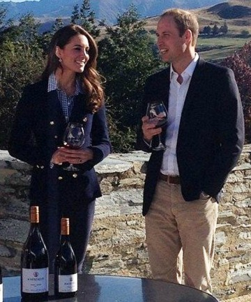 Cheers: The duke and duchess sample an Amisfield wine yesterday.