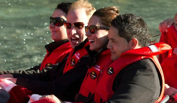 HOLD ON: The Duke and Duchess of Cambridge get ready for the Shotover Jet experience.