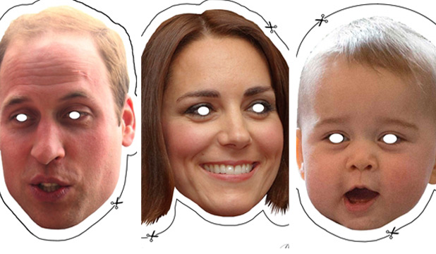 HIDE BEHIND ROYALTY: To get a face mask of your favourite Cambridge simply click on the links in the story below.