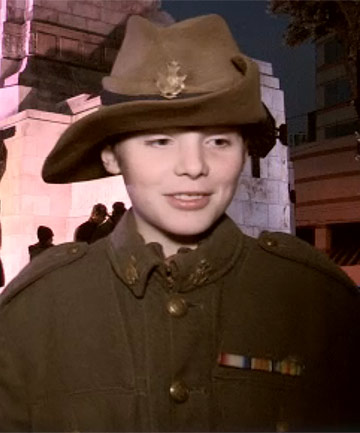 NEW GENERATION: Tom Wilton, 10, wears his great-grandfather's uniform to Wellington's Anzac dawn service.