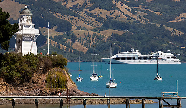 Cruise ship in Akaroa