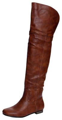 BOOHOO Gia Leather-Look Wader Boots