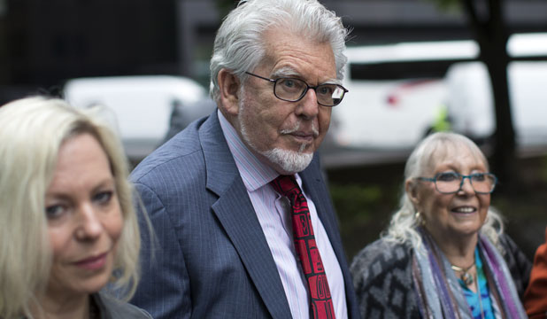Rolf Harris with family at court