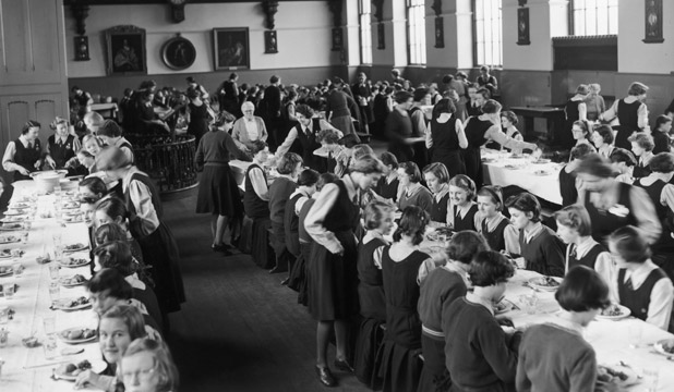 Pupils in the dining hall of Christ's Hospital girls' school in Hertford, 3rd March 1953.