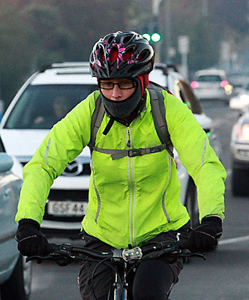 Chilly cyclist in Chch